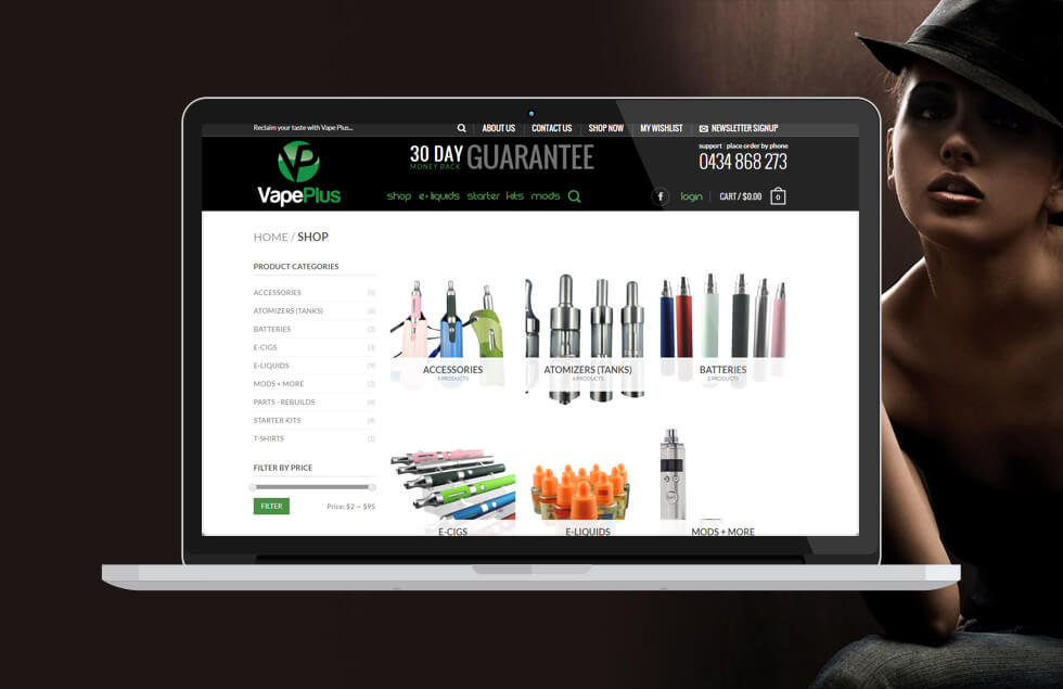 Vape Plus, Ecommerce website